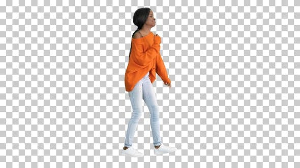 Thumbnail for Young casual african woman dancing, Alpha Channel