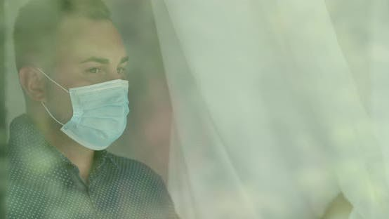 Thumbnail for Young Man is Wearing Mask inside the Building