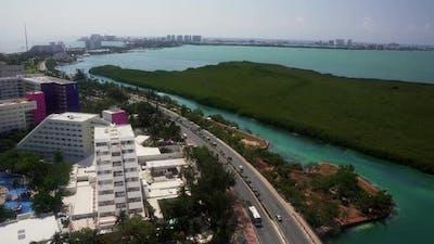 Aerial View of Punta Norte Beach Cancun Mexico