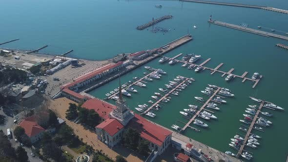 Thumbnail for Aerial view of marine station near the city