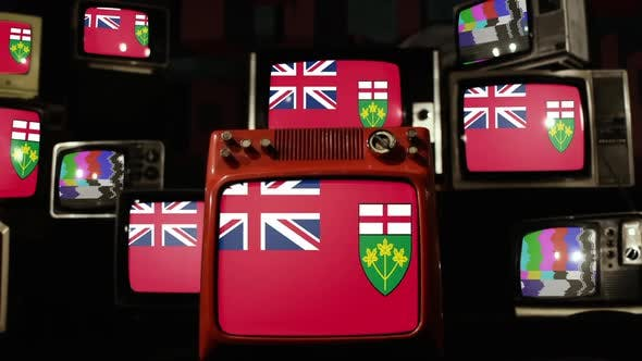 Thumbnail for Flag of Ontario, Canada, and Retro TVs