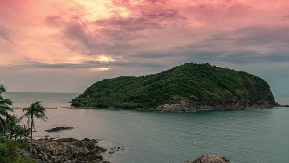 Tropical island Ko Ma at beautiful sunset in Koh Phangan island, Thailand