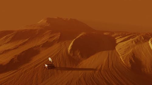 Following a Mars Rover on Red Planet Surface