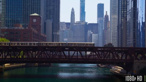 Downtown Chicago River Bridges with Elevated el train