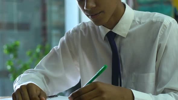 Thumbnail for Puzzled Schoolboy Thinking Over Complicated Test in Classes, Unprepared for Exam