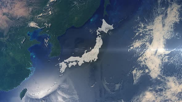 Realistic Earth Zoom Highlight Country Japan