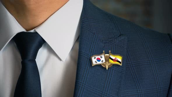 Thumbnail for Businessman Friend Flags Pin South Korea Brunei