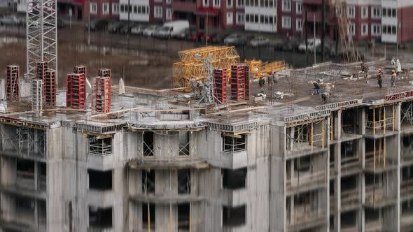 Thumbnail for Group of Constructors Working at Construction Site Residential Estate Building in City