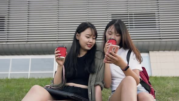 Thumbnail for Two Pleasant Cheery Asian Brunettes which Sitting on Grass and Using their Phones