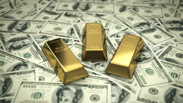 Cover Image for Fine Gold Bars upon USD Bills