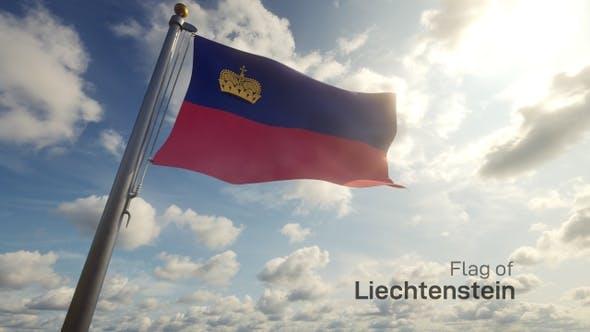 Liechtenstein Flag on a Flagpole