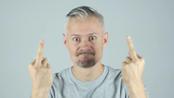 Thumbnail for Angry Man Showing Middle Finger