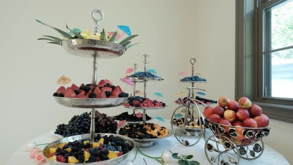 Close Up View of Candy Bar Wedding Candy Buffet at a Wedding Move Camera