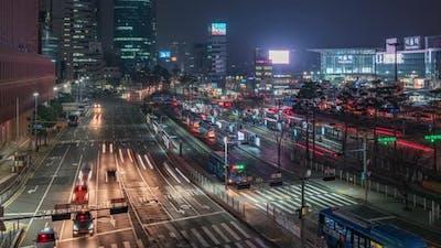 Seoul, Korea, Timelapse  - The Seoul Station neighbourhood at night