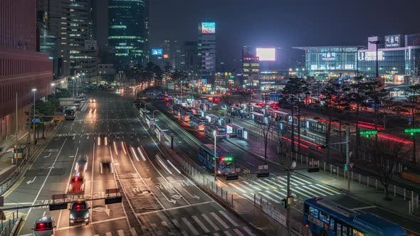 Thumbnail for Seoul, Korea, Timelapse  - The Seoul Station neighbourhood at night