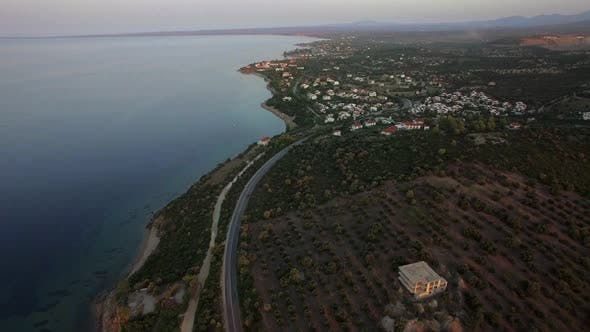 Cover Image for Flying Over the Sea and Shoreline of Trikorfo Beach, Greece