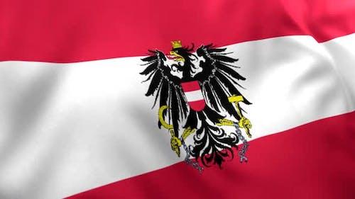 Drapeau Autriche avec emblème