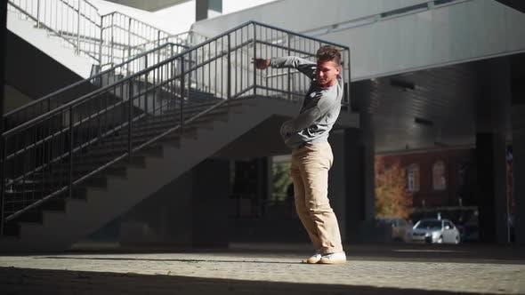 Thumbnail for Stylish Caucasian Man Street Dancer Dancing Break Dance Background Urban Architecture
