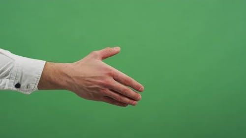 Hands grasp in a handshake