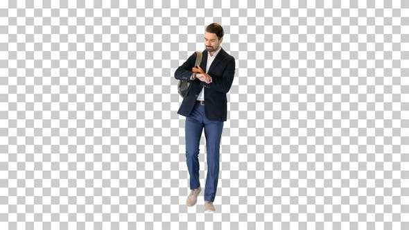Handsome young businessman with backpack walking, Alpha Channel