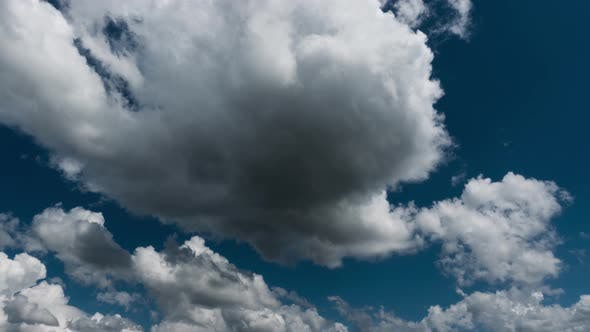 Thumbnail for White Clouds at Blue Sky Background, Timelapse. Beautiful Heaven