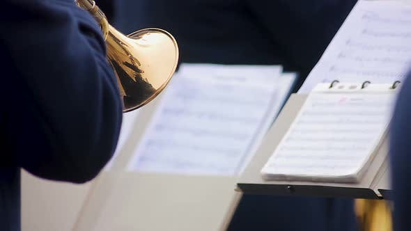 Thumbnail for Orchestra Musician Reading Notes and Skillfully Performing Part on Trumpet, Show