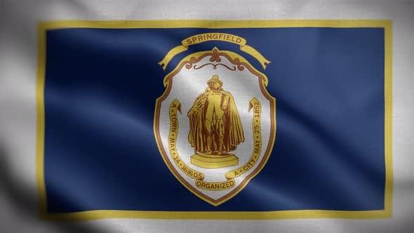Springfield Massachusetts USA Flag Loop Background 4K