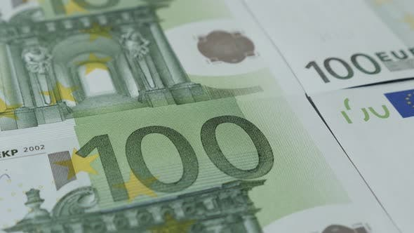 Thumbnail for Paper currency of EU in hundred denominations close-up 4K 2160p 30fps UltraHD tilting footage - Euro
