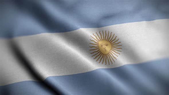 Argentina Flag Textured Waving Close Up Background HD
