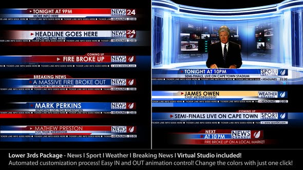 Thumbnail for Broadcast Design - News Lower Third Package1