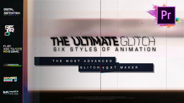 Thumbnail for 70 Glitch Title Animation Presets Pack For Premiere Pro | MOGRT