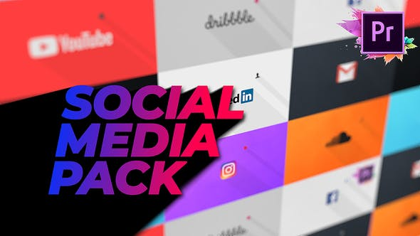 Thumbnail for Flat Social Media Pack For Premiere Pro | Mogrt
