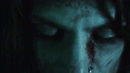 Thumbnail for Creepy zombie woman with bloody face and eyes closed.Horror style shot