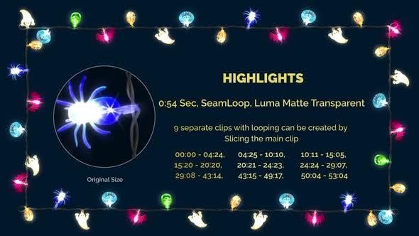 Thumbnail for Halloween Lighting String Bulbs 4 Pattern Frame 4k