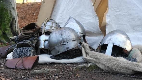 Iron helmets on the ground