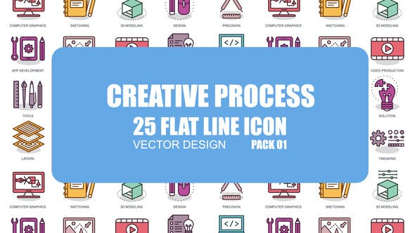 Thumbnail for Creative Process - Flat Animation Icons