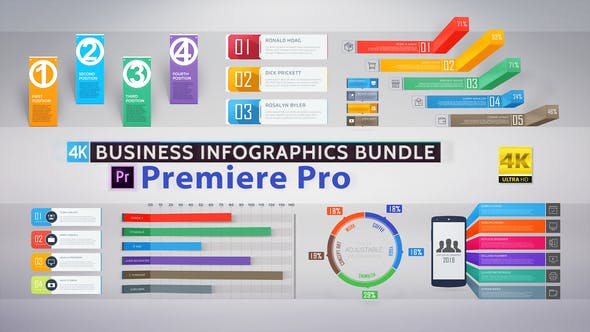 Thumbnail for Business Infographics Bundle - PremierePro