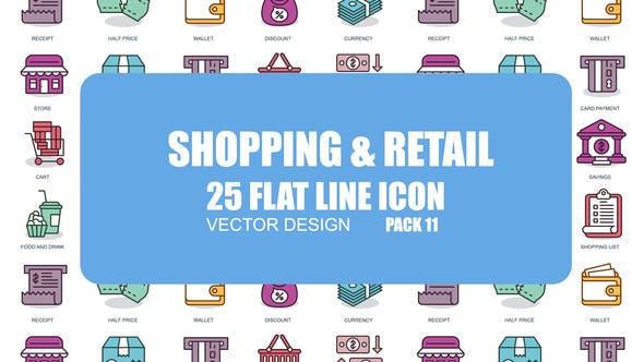 Thumbnail for Shopping et vente au détail - Icones d'animation plate