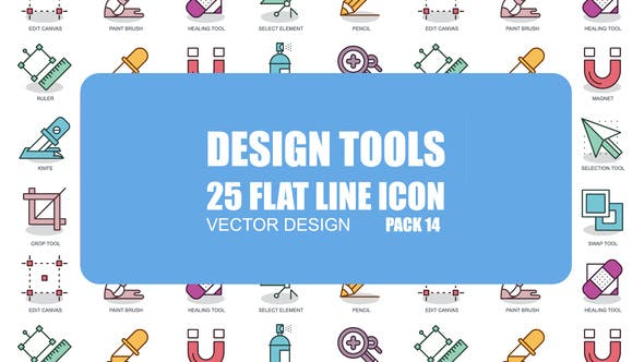 Thumbnail for Design Tools - Flat Animation Icons