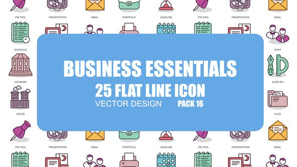 Thumbnail for Business Essentials - Flat Animation Icons