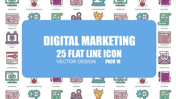 Thumbnail for Digital Marketing - Flat Animation Icons