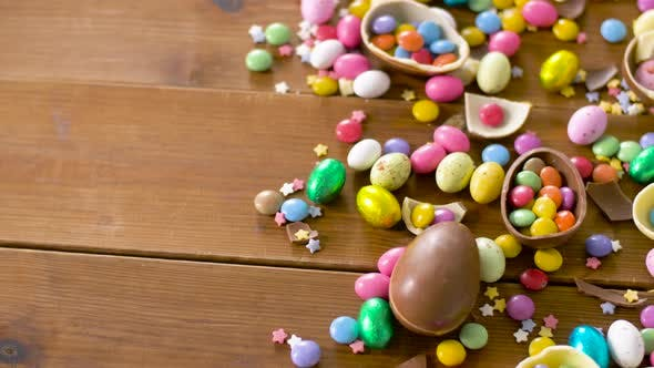 Thumbnail for Chocolate Easter Eggs and Drop Candies on Table