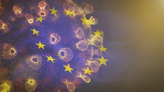 Thumbnail for European Union  Flag With Corona Virus Bacteria 4K