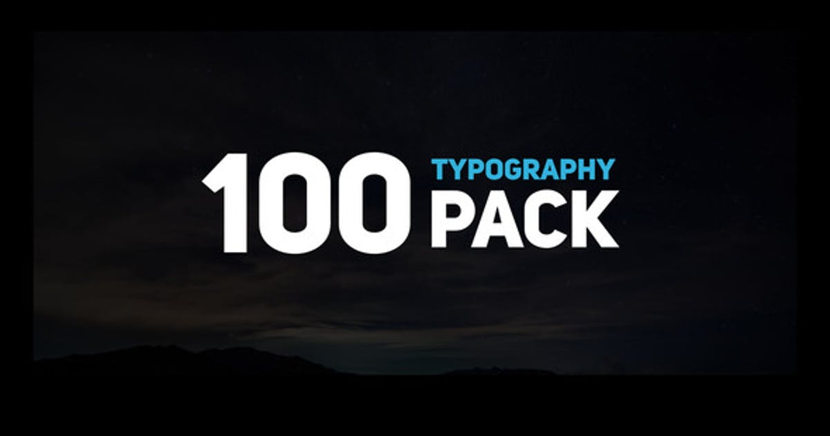 Download 100 Typography Pack by MotionTheoryStudio