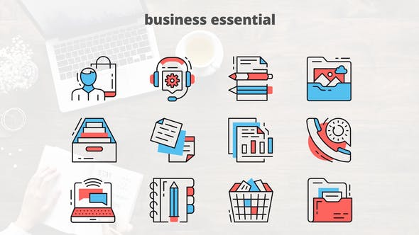 Thumbnail for Business Essential - Thin Line Icons