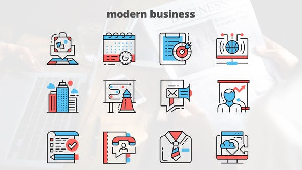 Thumbnail for MODERN BUSINESS – Thin Line Icons