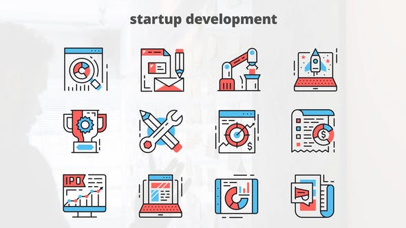 Startup Development – Thin Line Icons