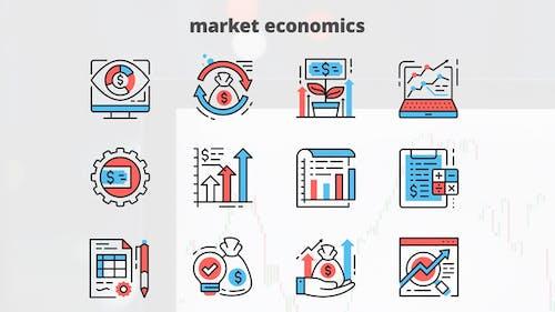 Market Economics – Thin Line Icons