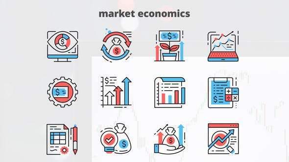 Thumbnail for Market Economics – Thin Line Icons