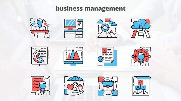 Thumbnail for Business Managment – Thin Line Icons